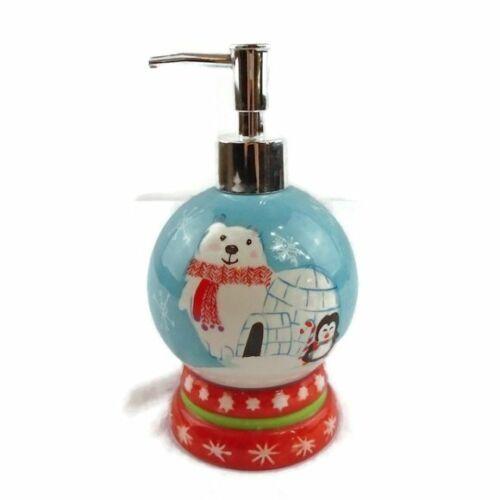 Ceramic Liquid Soap Dispenser Winter Polar Bear Penguin Snowflake Christmas