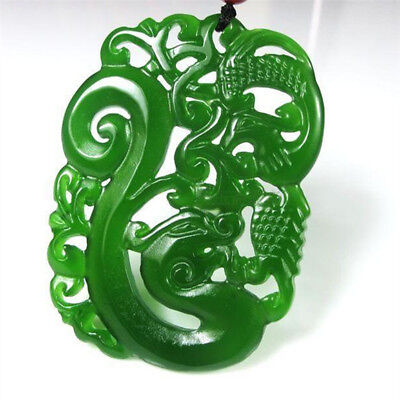 China hand-carved Green jade 龙凤呈祥 dragon Phoenix Pendant Necklace Amulet