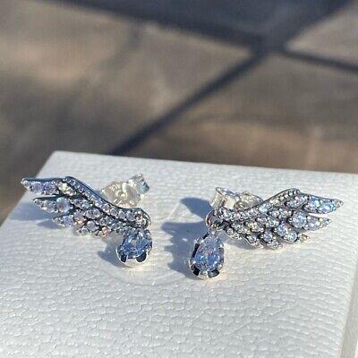 NEW Genuine Pandora Sterling Silver Dangling Angel Wings CZ Earrings 298493C01