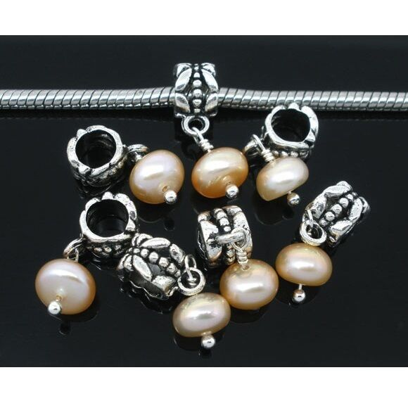 Wholesale Lot 20 Genuine Freshwater Champagne Pearl European Bracelet Bead Charm