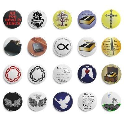 Button Pin Jesus Ichthys christlich Kreuz versch Motive