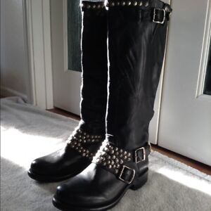 Frye boots, woman, black leather, 10