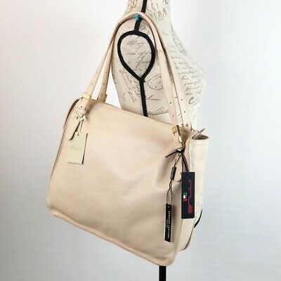 Innue Leather Bag Large Tote Shoulder Nude Cream Women's Purse Travel NWT