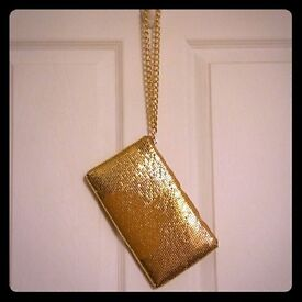 DKNY gold metal purse wallet bag, clutch, purse