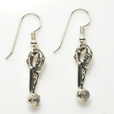 Dragon Knot Earrings .925 Sterling Silver w/ Genuine Moonstone (Dragon Knot Earrings)