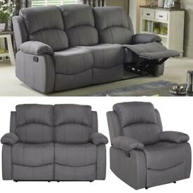 Brand New Set of 3+2+1 Seater GREY Fabric Recliner Manual Armchair Couch Sofa