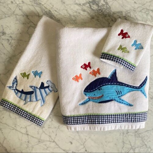 Pottery Barn Kids Shark Bath Towel 3-Piece Set