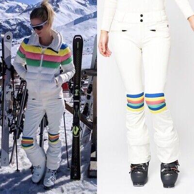 Perfect Moment Aurora Women's Flare Rainbow White Ski Snow Pants Size Medium