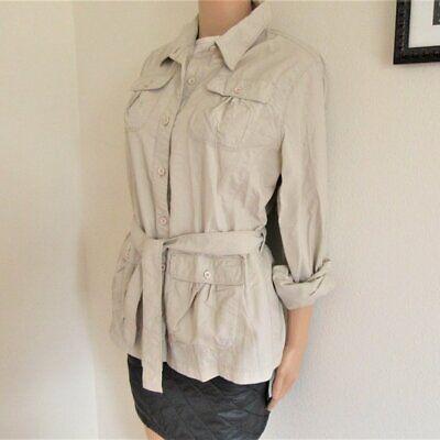 Women's L ROYAL ROBBINS hiking walking shirt blouse top belted button safari  Belted Blouse Top