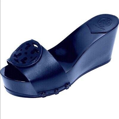 TORY BURCH Miller Platform Wedge Sandal size 9 Shoes navy $225