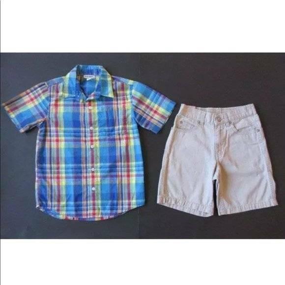 Old Navy Small 6-7 Blue Yellow Red Button Down Dress Shirt Khaki Tan Shorts Lot