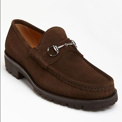 Vintage Gucci Horsebit Suede Lug Sole Loafers