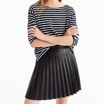 New With Tags  J. Crew Faux Leather Pleated Skirt - Size 0