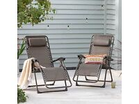 NEW Set of 2 Bronze Zero Gravity Loungers Sun Chairs Outdoor Reclining Garden