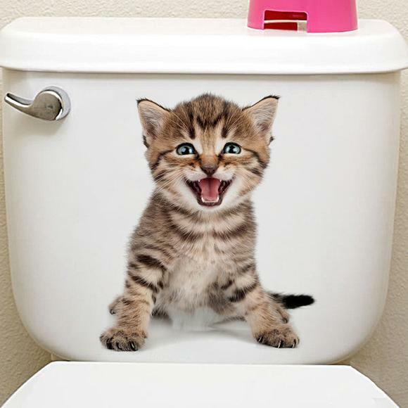 Katze Aufkleber 3D Bild Wandtattoo Bad Badezimmer WC Toilettendeckel