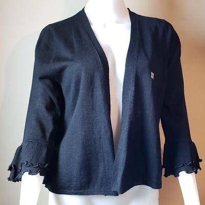Ann Taylor Loft Ruffled 3/4 Sleeve Wool Blend Black Open Cardigan Sweater L NEW