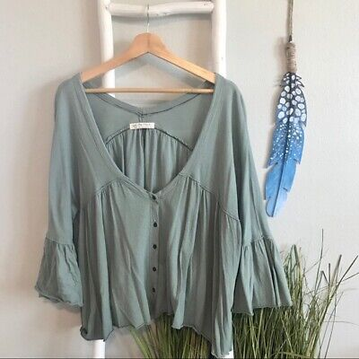 Free People | 'Sweet Little Tee' Green Ruffle Top, Size Large