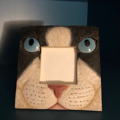 """Ceramic Cat Kitty Kitten Picture Frame 3""""X3"""" Opening 6.5""""X6.5"""" Overall HG296"""