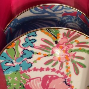 8PC LILLY PULITZER ISLAND PLATES AND FREE HARRODS