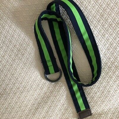 A&F Abercrombie & Fitch Men's Belt Navy & Green Canvas/Leather Size-34