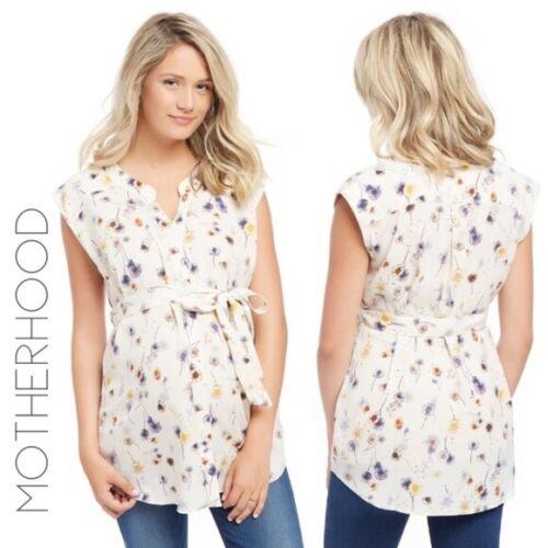 Motherhood Maternity Medium Floral Dandelion Watercolor Tunic Blouse Top