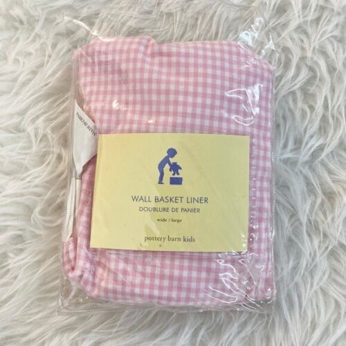 Pottery Barn Kids Pink Gingham Check Wall Basket Liner (Wide/Large) 100% Cotton