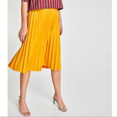 Zara Size M Medium Faux Suede Yellow Pleated Skirt NWT Womens
