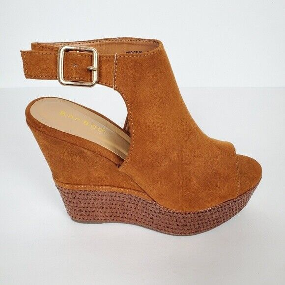 Women's Brown/Chestnut Faux Suede Wedges Heels  by BAMBOO