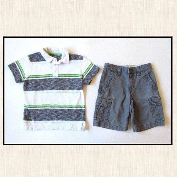 Old Navy Small 6-7 White Black Green Striped Polo Shirt Gray Dress Shorts Outfit