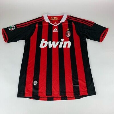 AC Milan Serie A Red Black Adidas Climacool Soccer Jersey Mens Large