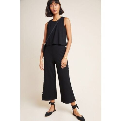 Anthropologie Womens 12 Black Freya Scalloped Essential Jumpsuit Cropped Wide