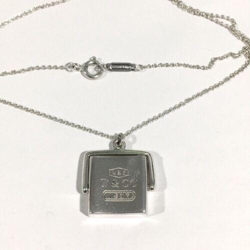 Tiffany & Co Silver Vintage Rare Square Flip Pendant With Chain