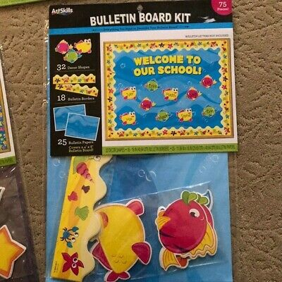 ArtSkills 75 Piece Bulletin Board kit, create Welcome to our School, fish theme