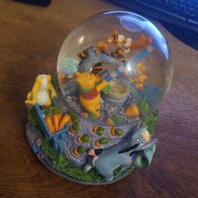 Large Disney Winnie the Pooh Tigger Eeyore Wind Up Musical Snow Globe
