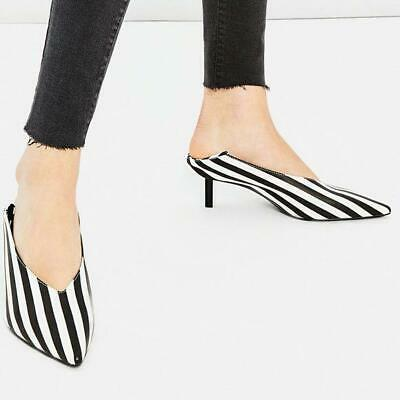 ZARA Women's Size 40 Black White Stripe Stilleto Heel Mules Shoes NEW