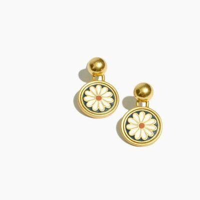 Madewell Daisy Delight Enamel Drop Stud Earrings - -