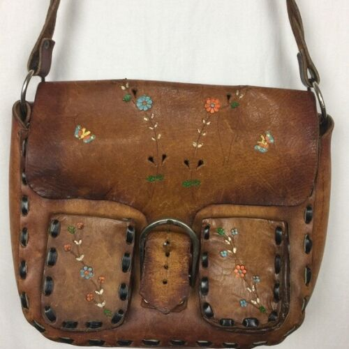 Vtg 1970s leather purse bag with painted flowers