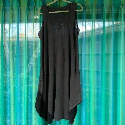 Eileen Fisher Dress Women Size Large Color Gray 100% Organic Linen Maxi boxy
