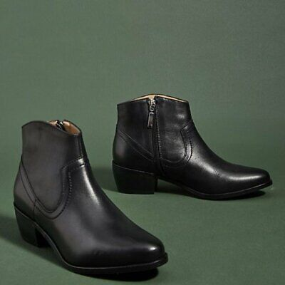 Anthropologie Leigh Leather Black Ankle Boots 38 New in box