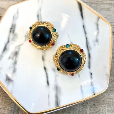 VTG 80s Paolo Gucci Clip On Earrings Signed Black Cabochon Gold Framing Multicol