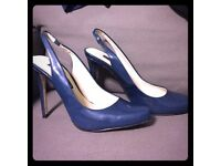 BRAND NEW Zara Navy Patent Slingbacks - Size 6 - With tags - Never Worn
