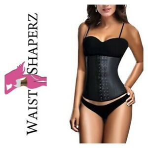 50957e945d 9 STEEL BONED BLACK WAIST TRAINER WITH LATEX HOOK CLOSURES