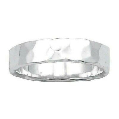 Hammered Finish Wedding Band 5 mm Ring Solid Sterling Silver 925 4.2 gr Size 10 5mm Hammered Band Ring