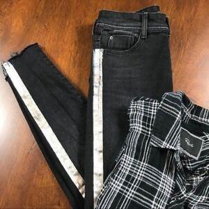 Zara Black Silver Striped Jeans