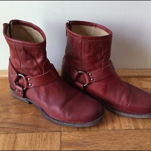 Frye boots, Phillip Harness Ankle Boot, Size 8.5, Burnt Red