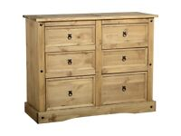 CORONA MEXICAN PINE 6 DRAWER CHEST