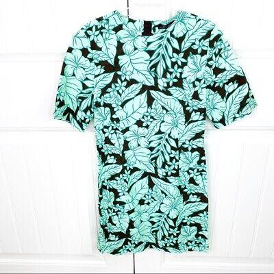 Zara Woman Green Tropical Hawaiian Floral Print Casual Mini Shift Dress Size XS