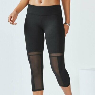 Fabletics Women's XS Black Zoey Mesh Capri Leggings