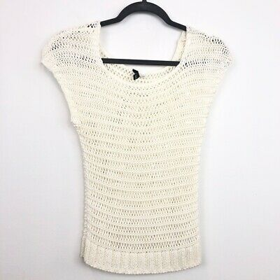 H&M Size 4 36 Ivory Knit Stretch Fitted Cap Sleeve Top Womens Casual