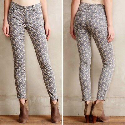 NEW PILCRO Womens Pants 32 Gray Geo Serif Sateen Mid Rise Skinny Anthropologie